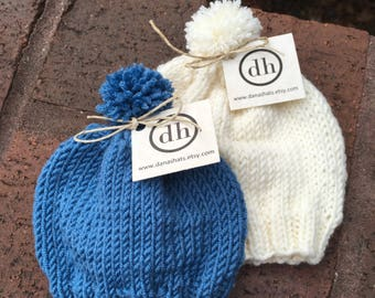 Now and Later Matching Set: Two (2) Infant Baby Knit Beanies - You Pick the Colors and Style