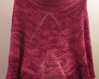 Magenta Magic Knitted Shawl with Shawl Pin