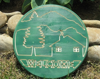 Welcome Sign -  Routed Wood Disk 3D Wall Decor - Color Options DSK7