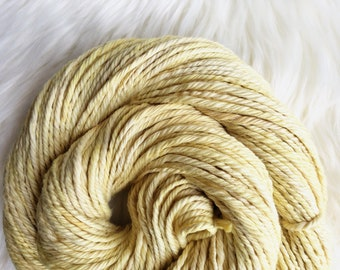 Naturally Dyed Cotton, Bulky Yarn, Weld Botanical Dye, Sunny Yellow, Vegan Yarn