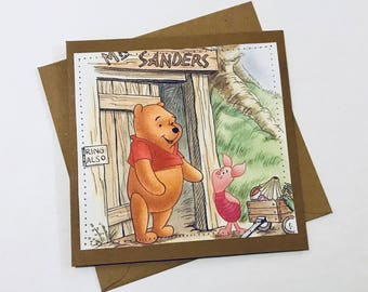 Winnie the Pooh - Stitched Greeting Card and Envelope - Blank
