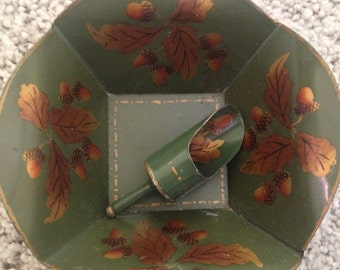 Signed Tole Tinplate Dish with natching Scoop