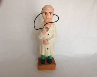 "Wooden Hand Carved Medical Doctor - Wood MD - 11.75"" Tall Unmarked"