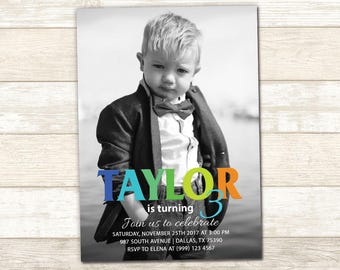 Black and White Photo Party Invitation - Black and White Birthday Party - Photo Birthday invitation - Digital Printable File - Any AGE