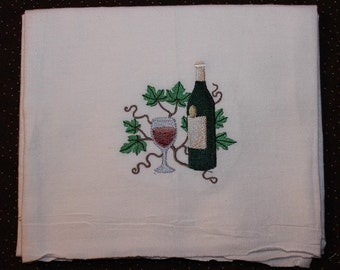 Machine Embroidered Wine Bottle & Glass of Wine Flour Sack Dish Towel