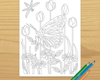 Butterfly Coloring Page, Dragonfly Coloring Page, Rose Coloring Page, Daisy Coloring Page, Bug Coloring Page, Digital Download