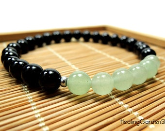 Black Tourmaline and Green Aventurine Bracelet // Prosperity and Luck // Money // Reiki Jewelry // Healing Garden Shop