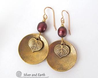 Gold Dangle Earrings, Leaf Earrings, Bronze Pearl Earrings, Nature Earrings, Nature Gift for Her, Handmade Brass Earrings, Leaf Jewelry