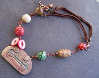 Stoneware Key Pendant with Stoneware Beads and Leather Necklace