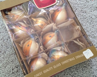 RESERVED/Shiny Brite by Max Eckardt Christmas Tree Ornaments in Original Tissue and Box