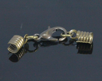 lobster clasps with (brass) crimp end Antique brass tone (alloy) (3 mm) set (12mm Lobster) Cord tips 12C30B