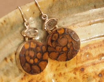 Herkimer Diamond Round Ammonite Fossil Sterling Silver Earrings Silver Stamped SS Earwires
