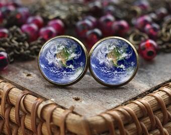 Planet Earth Earrings, Earth Jewelry, Astronomy gift, Space Jewelry, Universe Galaxy earrings, World Earrings, Solar System Earrings
