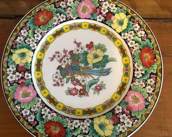 Vintage Mikasa Plate , Kutani Bird , Bone Chine Plate , Narumi Japan , A 7605 , Sandwich Plate , Replacement Plate , Colorful , Floral ,Bird