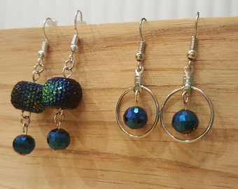 Black Iridescent and Blue Silver Hoop Earrings - Lightweight!