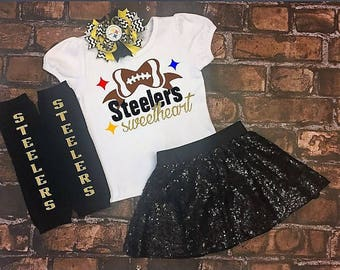 Steelers Sweetheart, Steelers girls outfit, girls fan gear, Steelers football, Steelers girls clothes, girls football outfit