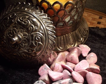 "Rhodonite Tumbled Gemstone - Love, Relaxation, Calming, Balance, ""Rescue Stone"""