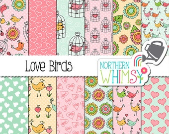 """Valentine's Digital Paper - """"Love Birds"""" - spring bird, cage, and floral hand drawn seamless patterns in pink, mint & yellow -commercial use"""