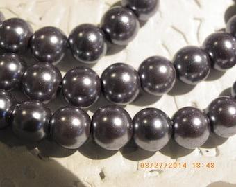 50 glass beads 8 mm mother of Pearl gunmetal dark silver