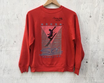 Red ~ Ski ~ Paradise ~ Squaw Valley USA ~ Crewneck ~ Sweatshirt ~ Womens Large ~ 80's ~ Vintage