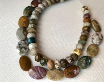 Two Strands of Multicolored Faceted Jasper Beads for Crafting and Supplies