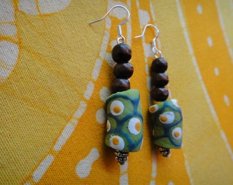 Green Recycled African Glass and Wood Beaded Earrings