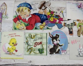 12 Easter Cards Vintage 1940's 1950's Easter Ephemera Easter Card Card Repurpose Altered Art Supply #54 L