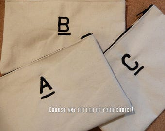 LARGE Letter Embroidered Canvas Pouch/Bag