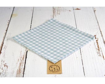 Napkin in organic cotton GOTS blue gingham, zero waste, eco-friendly and sustainable