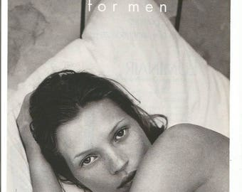 1997 Advertisement Kate Moss for Obsession Cologne Parfum Calvin Klein Ad 90s Celebrity Fragrance Scent Wall Art Decor