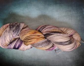 Yarn, DK Yarn, Hand Dyed Yarn, Grey Yarn, Yellow Yarn, Purple Yarn Superwash Merino Wool - Jam