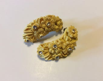 Vintage Yellow Floral Clip On Earrings With Rhinestones