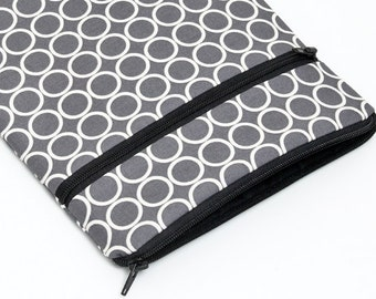 iPad Pro 10.5 Bag, Surface Pro  Cover, Kindle Oasis Case, Samsung Galaxy Tab Sleeve, Nook Padded Pouch Zipper Pocket - white circles in grey