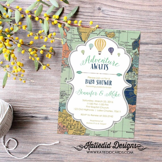 Adventure awaits baby shower invitation World map Hot air balloon Travel Theme gender neutral reveal sip and see boy | 1466 Katiedid Designs