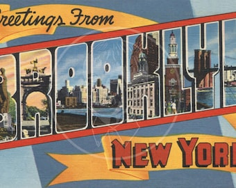 Greetings from Brooklyn (style 2) - 10x16 Giclée Canvas Print of a Vintage Postcard
