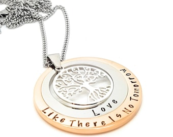 Personalised Jewellery, Personalised Necklace, Family Necklace Layered Family Names Tree of Life Pendant Silver Rose Gold Two Circle Custom