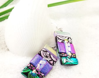 Dichroic earrings, fused glass jewelry, glass jewelry, fused glass art, dichroic glass beads,Hana Sakura,artistic jewelry,statement earrings