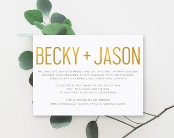 Printable Wedding Invitation Suite | The Becky Collection in Gold Foil & Soft White or Custom Colors | DIY | PDF or Printed Invites