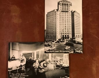 Vintage Pair of Mark Hopkins Hotel Real Photo Postcards - San Francisco