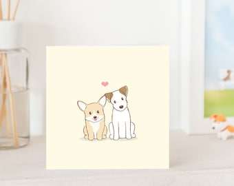 Dog Love Cards - Cute Corgi and Jack Russell Terrier with love, Dogs in love, Love You Card, Friendship card, Dog Card