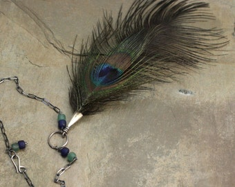 Hera's Eye Necklace in Sterling Silver, Glass, Peacock and Vintage Ostrich Feathers