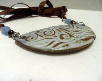 Sky Blue Nature Girl Necklace, OOAK handmade Ceramic