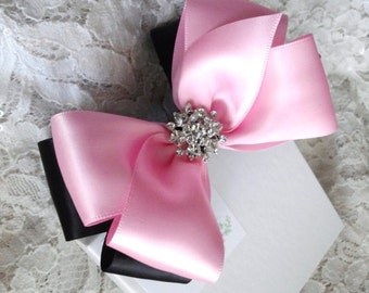 "Light Pink and Black Satin Hair Bow with Rhinestone Center, Black and Light Pink Flower Girl Hair Bow, 4"" Hair Bow, Christmas Bow"
