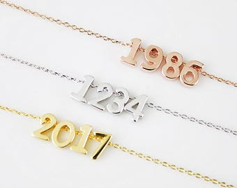Dainty Number Pendant Necklace