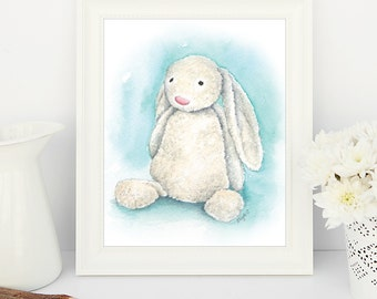 JellyCat Bashful Bunny - Print from original watercolour (un-mounted)