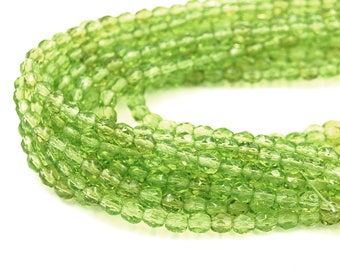 Wholesale Lot, 250/pc Olivine Green Czech 4mm Fire-polished Faceted Round Beads