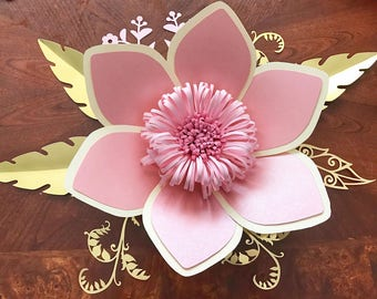 SVG Petal #15 Paper Flower Template with Base, DIGITAL - Original Design by Annie Rose - Cricut and Silhouette Ready