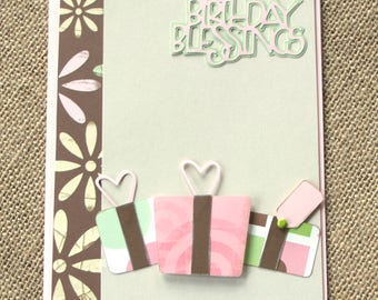 "Handmade Birthday Card ""Birthday Blessings"" 3D Colorful Girl Wife Daughter Friend Birthday Card"