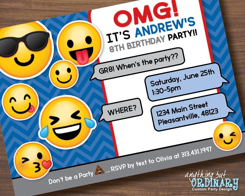 Boys Emoji Invitation Printable Emoji Birthday Party