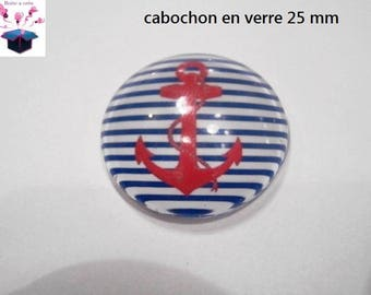 1 cabochon clear 25 mm round sea theme